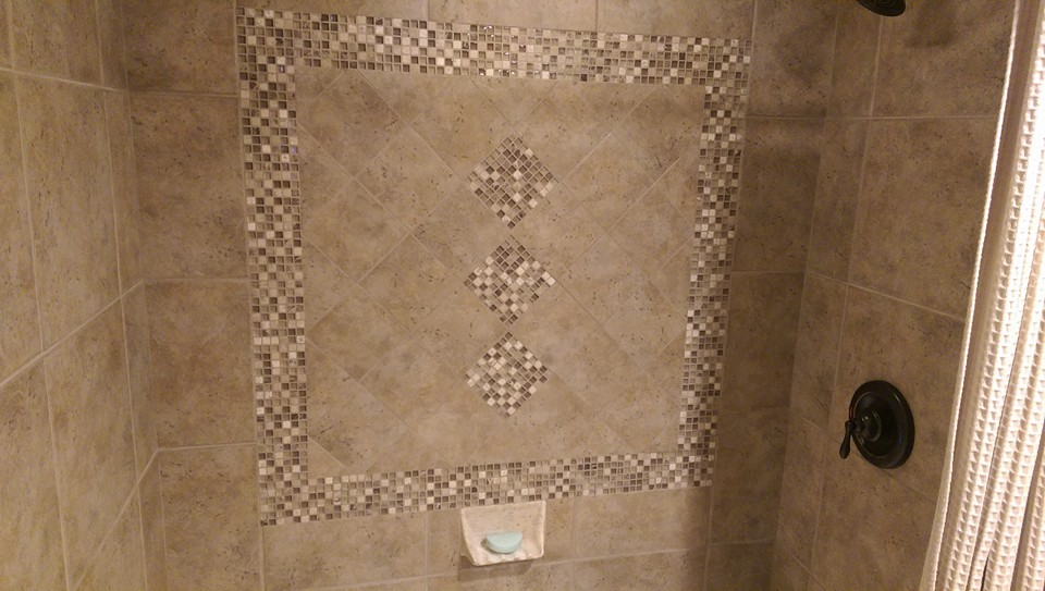 Porcelain Tile Shower Surround w/ Glass Mosaic Inlay