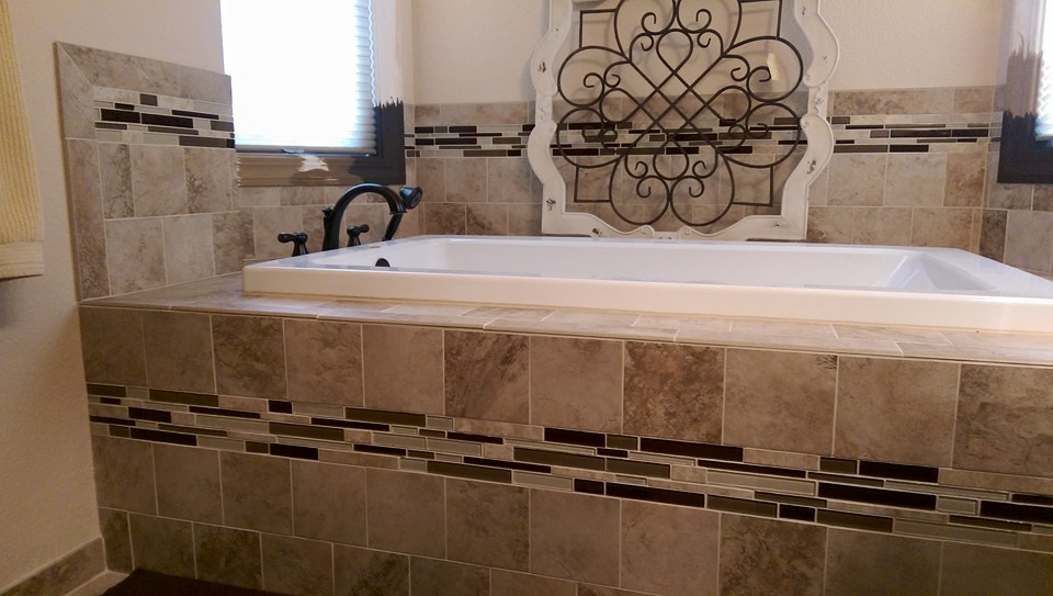 orcelain Tile Shower Surround with Glass Mosaic Inlay